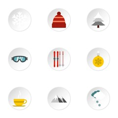 Winter frost icons set. Flat illustration of 9 winter frost vector icons for web