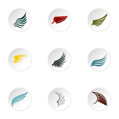Wings icons set. Flat illustration of 9 wings vector icons for web