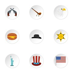 Holiday in USA icons set. Flat illustration of 9 holiday in USA vector icons for web