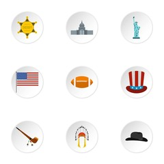 Country USA icons set. Flat illustration of 9 country USA vector icons for web