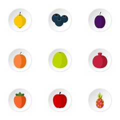 Farm fruits icons set. Flat illustration of 9 farm fruits vector icons for web