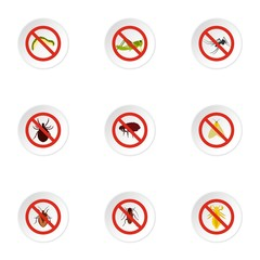 Prohibited insects icons set. Flat illustration of 9 prohibited insects vector icons for web