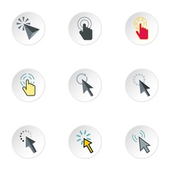 Cursor icons set. Flat illustration of 9 cursor vector icons for web
