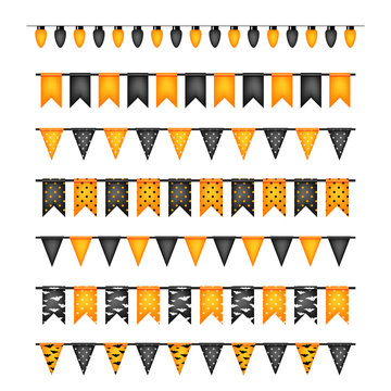 Halloween decoration flags and light bulbs garlands isolated on white background vector