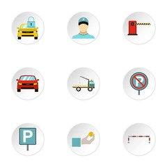 Parking icons set. Flat illustration of 9 parking vector icons for web