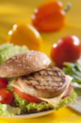 Chicken burger with bell pepper and lettuce with cherry red and yellow tomato on yellow background