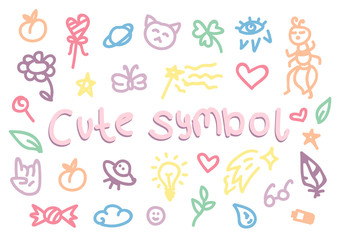 Set of trendy doodle hand drawn icon. Vector cute collection of girly stuff isolated on white background. Cute doodle background with animals, sweets, stars and hearts.