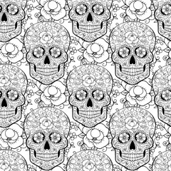 seamless pattern with skulls anti-stress coloring page