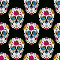 seamless pattern with sugar skulls on black
