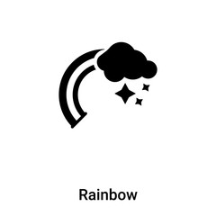 Rainbow icon vector isolated on white background, logo concept of Rainbow sign on transparent background, black filled symbol