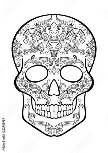 Sugar Skull Coloring Page Stock Image And Royalty Free Vector