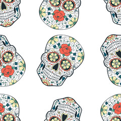 seamless pattern with sugar skull on white