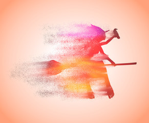 Illustration of flying young witch icon composed of particles. Witch silhouette on a broomstick. Raven sit on hand. Halloween relative image.