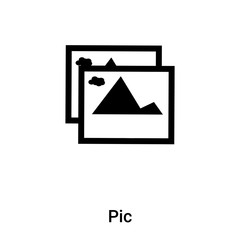 Pic icon vector isolated on white background, logo concept of Pic sign on transparent background, black filled symbol