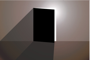Habitación oscura con luz entrando por una puerta entre abierta.