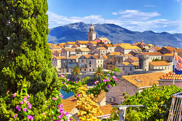 View of the Korcula town, Korcula island, Dalmatia, Croatia Fototapete