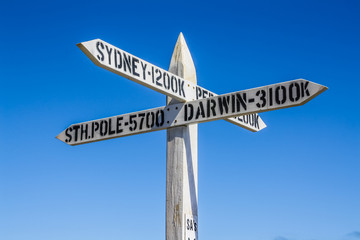 Signpost at the southernmost point in South Australia.