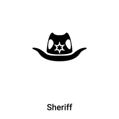 Sheriff icon vector isolated on white background, logo concept of Sheriff sign on transparent background, black filled symbol