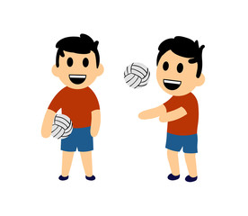 Funny cartoon boy playing volleyball. Set of two characters. Colorful flat vector illustration. Isolated on white background.