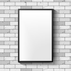 White brick wall with photo frame. Vector