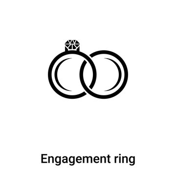 Engagement ring icon vector isolated on white background, logo concept of Engagement ring sign on transparent background, black filled symbol