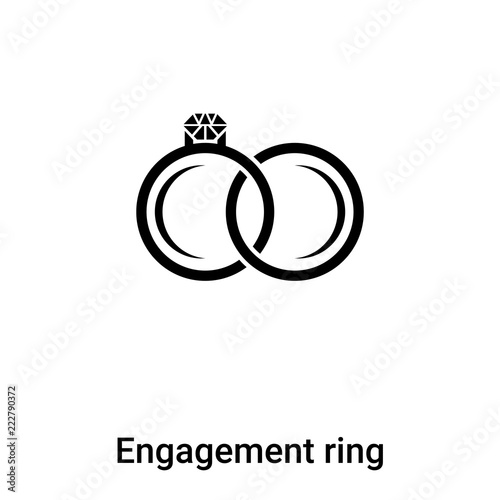 Engagement Ring Icon Vector Isolated On White Background Logo