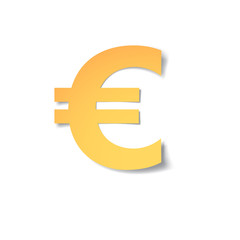 yellow-gold euro mark carved from paper with soft shadow.Vector