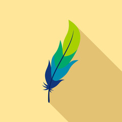Feather icon. Flat illustration of feather vector icon for web design