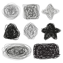Grunge signs. Infographic elements on isolated background. Big set on white. Hand drawn simple tangled symbols. Doodles for design. Line art. Abstract circles, ovals and rectangle frames