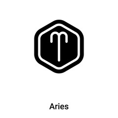 Aries icon vector isolated on white background, logo concept of Aries sign on transparent background, black filled symbol