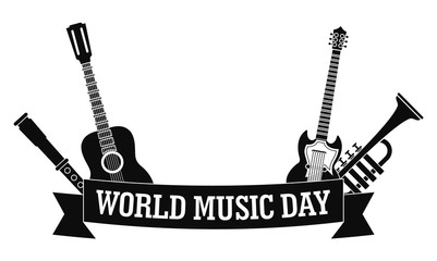 World music day icon. Simple illustration of world music day vector icon for web design isolated on white background