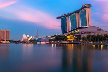 Marina Bay at pink sunset. Singapore city landscape