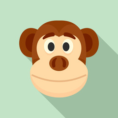 Monkey head icon. Flat illustration of monkey head vector icon for web design