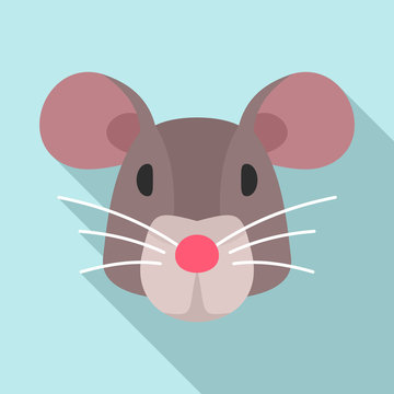Mouse head icon. Flat illustration of mouse head vector icon for web design