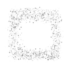 Square holiday shape. Multicolored confetti in rectangle border. Geometric frame on isolated white. Intricate background with glitters. Print for flyers, posters, banners and textiles. Greeting cards