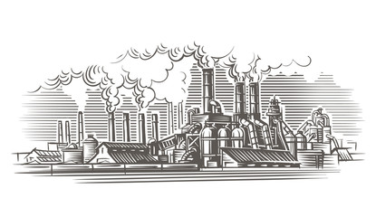 Industrial landscape engraving style illustration. Vector, isolated, layered.