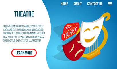Theatre center concept banner. Isometric banner of theatre vector concept for web, giftcard and postcard