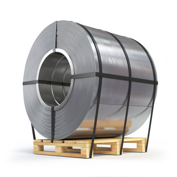 Steel sheet rolled, metal roll on a pallet. Production, delivery and storage of metal products.