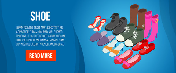Shoe concept banner. Isometric banner of shoe vector concept for web, giftcard and postcard