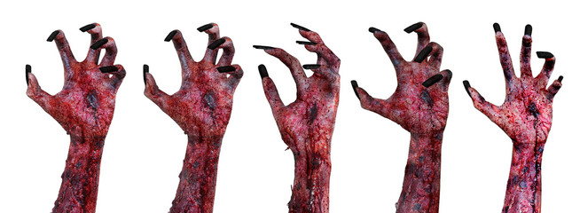 Terrible zombie hands with bloody wounded Wall mural