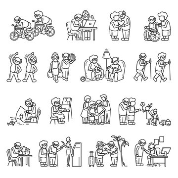 Older persons icon set. Simple set of older persons vector icons for web design on white background