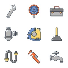 Pipe workroom icons set. Cartoon set of 9 pipe workroom vector icons for web isolated on white background