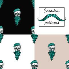 Beard Skull. Seamless Pattern
