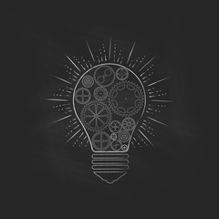 Light bulb on blackboard, an idea concept. Vector illustration