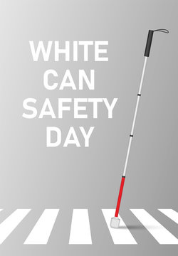 White cane safety day concept banner. Realistic illustration of white can safety day vector concept banner for web design