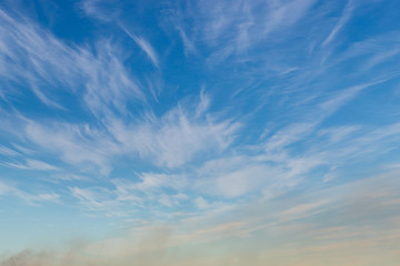 Blue sky with thin clouds.