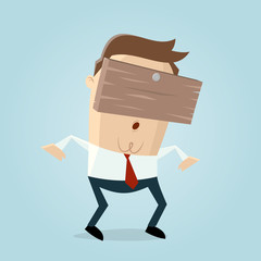businessman with plank on his head