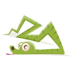 funny cartoon illustration of a green snake
