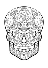 sugar skull, day of death coloring page