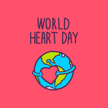 World heart day concept background. Hand drawn illustration of world heart day vector concept background for web design